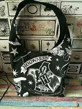 Harry potter shopper handbag large hogwarts school college bag handmade black
