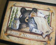 Country primitive Bear Necessities Rustic Outhouse Plaque Bathroom Decor Sign