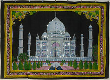 * Indian Taj Mahal Sequinned Wall Hanging * Fair Trade * Large * Black (BB)
