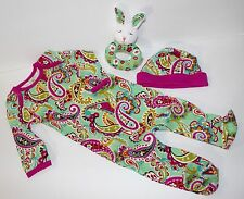 Vera Bradley Layette Baby Infant Tutti Fruitti Sleeper Outfit Hat Rattle 0-3 mos
