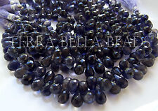 "4"" IOLITE faceted gem stone teardrop briolette beads 8mm - 9mm WATER SAPPHIRE"