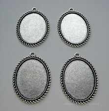4 Ant. Silvertone Rope 40mm x 30mm CAMEO Costume Jewelry FRAME PENDANT SETTINGS