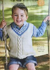 KNITTING PATTERN Childrens Cricket Slipover Sleeveless Sweater Sirdar PATTERN
