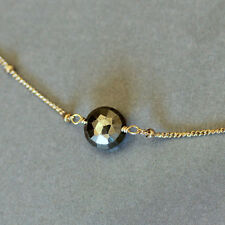 Sparkly Golden Pyrite Solitaire Coin 14k Gold Fill Chain Necklace U&C Sundance