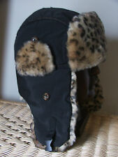 MENS PRIMARK CEDARWOOD STATE FAUX FUR ANIMAL PRINT AVAITOR TRAPPER HAT-BNWT