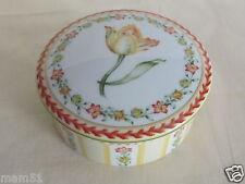 Bonbonnière boite à bijoux porcelaine Limoges Jardin de fleurs Médard de Noblat