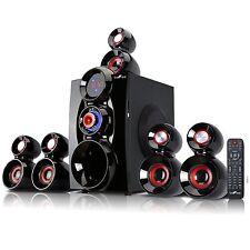 beFree BFS-600 Bluetooth 5.1 Channel Surround Sound Speaker System Red/Black USB