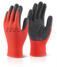 50 Pairs Latex Palm Dipped Poly Grip Work Safety Gloves MP4 Red & Black Size M