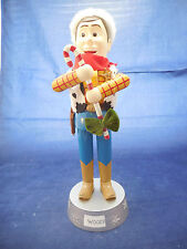 "Nutcracker Woody from Toy Story 13 3/4"" wood and plastic Santa hat"
