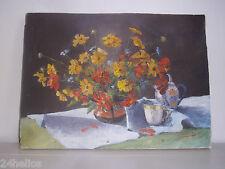 """Tableau Huile sur Toile """"Bouquet de Fleurs"""" signé Suzy Pruniau 1954 Peinture"""