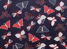 SNUGGLE FLANNEL* BUTTERFLIES w/DOTS *RED/WHITE on NAVY BLUE-100% Cotton NEW* BTY