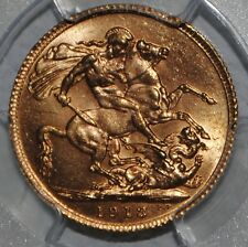 1913 Great Britain King George V Gold Sovereign PCGS MS63 Uncirculated BU UK SOV