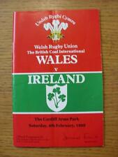 04/02/1989 programa de unión de rugby: Gales Irlanda V [en Cardiff Arms Park] (plegado