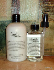 Philosophy FRESH CREAM Shower Gel 16 oz & Body Spritz 8 oz SET Sealed