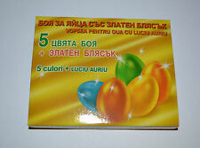 5 Colours Gelatin Paint + Gold Shine Painting Coloring Decorate Dye EASTER EGG