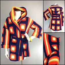 Vtg 70s Sweater Hippie Chic Granny Square Wrap W/ Belt Handmade Mod Brights