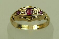 ANTIQUE 18K GOLD DIAMOND & SYNTHETIC RUBY RING BIRMINGHAM 1917 SIZE N 3.2 GRAMS