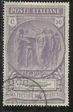 ITALIA REGNO 1923 PRO CASSA DI PREVIDENZA CAMICIE NERE CENT. 50 + 50 USATO USED