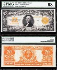 Amazing CHOICE UNCIRCULATED 1922 $20 *GOLD CERTIFICATE*! PMG 63! K78723978