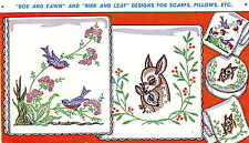 Hand Embroidery iron on Transfer 630 Deer Fawn Birds for Dresser Scarf Vanity