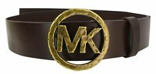 NWT Michael Kors Women's Hammered MK Logo Buckle Belt LARGE L BROWN Luggage