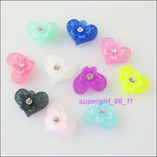 35Pcs Mixed Resin Heart Beads fit Cabochons Settings Flatback Charms 8.5x10.5mm