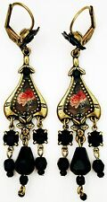 Michal Negrin Black Victorian Style Roses Cameo Beads Earrings