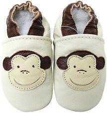 carozoo monkey cream 6-12m soft sole leather baby shoes