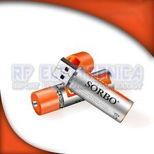 2PCS SORBO 1.5V 1200mAh USB Rechargeable 1 Hour Quick Charging AA Li-po Battery