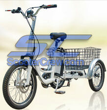 NEW Electric Trike E Bike EV 3 Wheel Lithium Battery 36v 350w Basket Disk Brake