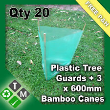 20 x Plastic Tree and Plant Guard Protection Sleeves & 60 x 600mm Bamboo Canes