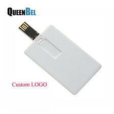 8GB Lot 20 2.0 USB Customized Logo Print white Credit card Flash Pen Drive Stick