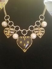 Betsey Johnson Vintage Pirate Skull & Crossbones Lucite Heart Pearl Necklace