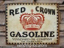Red Crown Gasoline Tin Metal Sign Bar Garage Ad Gas Standard Oil Advertising New