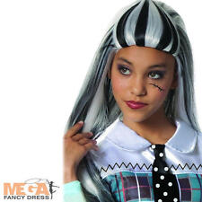 Frankie Stein Girls Wig Monster High Halloween Fancy Dress Costume Kids Wig NEW