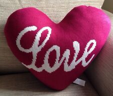 Lovely Knitted Red Love Heart Shaped Filled Cushion - Shabby Chic