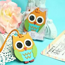 1 Owl Luggage Tag Wedding Favor Reception Cute Funny Gift Practical Hoot Whooo