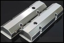 SBC FABRICATED TALL ALUMINUM VALVE COVERS w/ ACCESSORY HOLES # 6145-SATIN