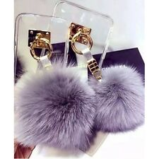 Luxury Warm Rabbit Fur Ball Metal Ring Soft Shockproof Clear Phone Case Cover