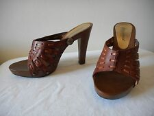 SOOOO GORGEOUS~! NIB DOLCE & GABBANA Logo Brown Leather Mules Shoes ITALY 37 7M