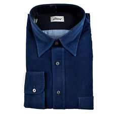 BRIONI Solid Blue Cotton Corduroy Slim Fit Button Down Shirt Sz IV L NWT $595!