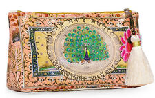 Papaya Art Starlet Peacock Oilcloth Cosmetic Pouch Make-up Accessory Travel Bag