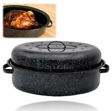 "Cooking Turkey Covered Oval Roaster 18"" Carbon Steel Roasting Pan Kitchen Meat"