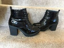 RIVER ISLAND Black SOFT Patent Leather Chunky Ankle Boots Size 4 (37)