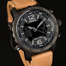 INFANTRY Mens Digital Quartz Wrist Watch Chronograph Backlight Brown Leather