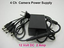 NEW 12V 2A Power Supply & 4 Splitter For Surveillance CCTV DVR ZMODO,SWANN,Q-SEE