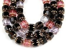 Czech Cathedral Black Pink Crystal Gold Faceted Fire Polished Glass Beads 25/6mm