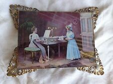 ANTIQUE MINIATURE VICTORIAN REVERSE PRINT LADY PIANO MUSIC ON GLASS GILT ORMOLU