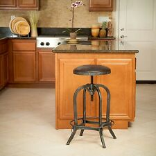 NEW Padded Brown Leather Swivel Bar Stool Rustic Metal Legs Adjustable Height 27