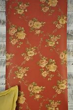 Brewster Wallcoverings Traditional Vining Roses Gold Green Red Floral Wallpaper